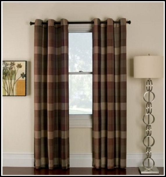 Brown And Black Plaid Curtains