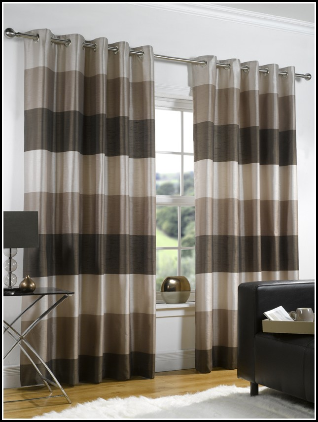Brown And Black Striped Curtains