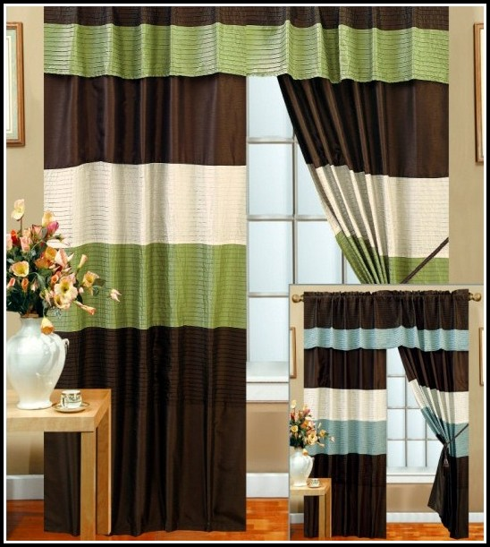 Brown And Green Striped Curtains