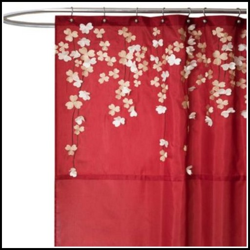 Brown And Red Eyelet Curtains