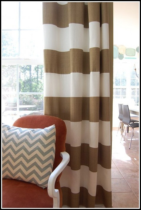 Chocolate Brown And White Striped Curtains