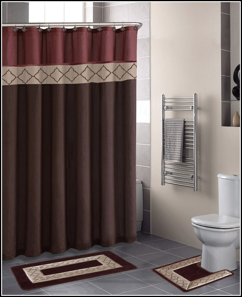 Dark Brown And Red Curtains