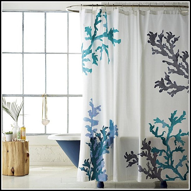 Gray And Blue Window Curtains