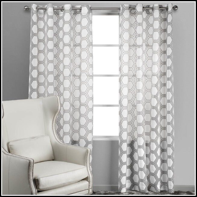 Gray And White Curtain Panels