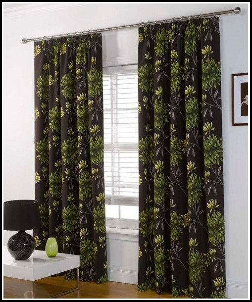 Green And Brown Striped Curtains