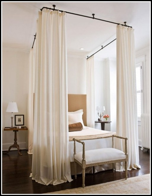 Hanging Curtains From Ceiling Over Bed