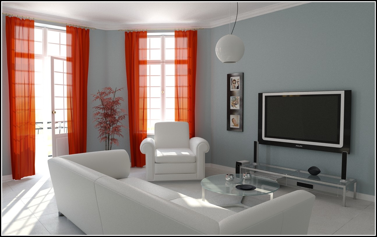 Modern Living Room With Red Curtains