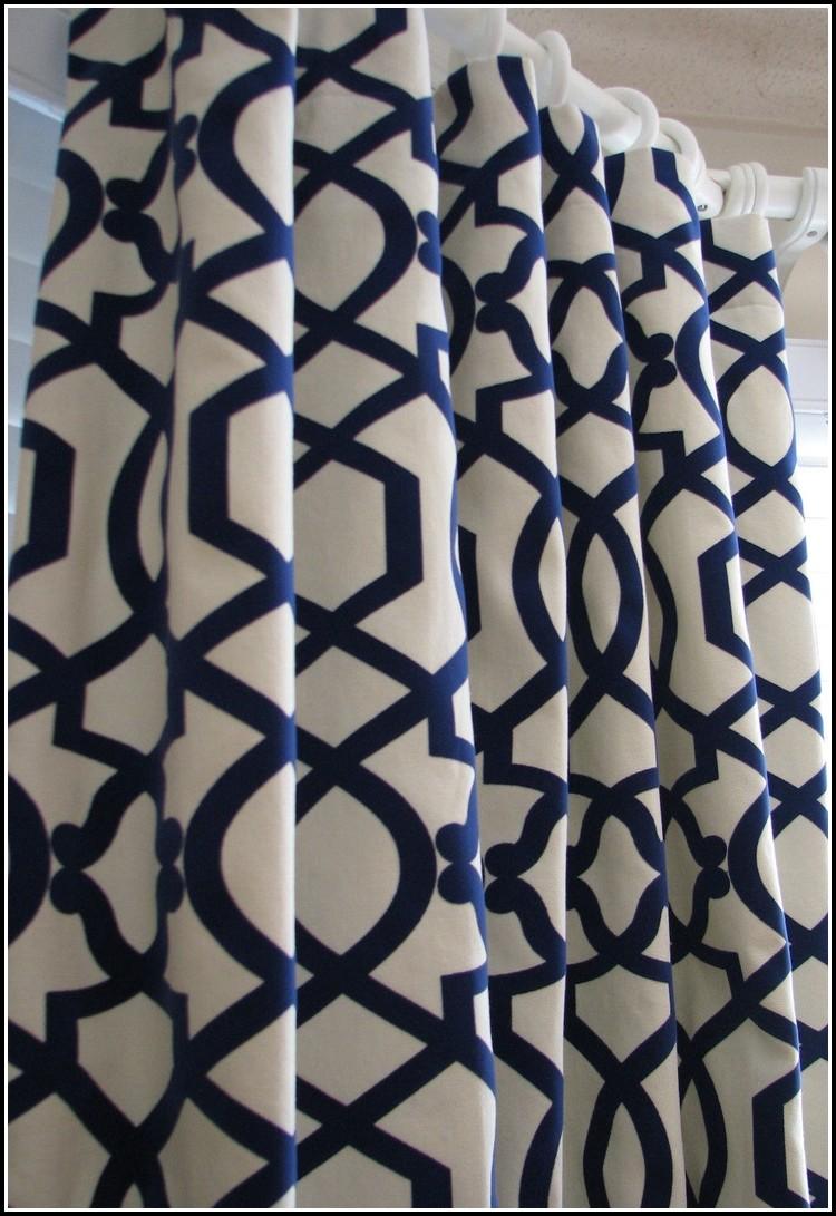 Navy And White Horizontal Stripe Curtain Panels