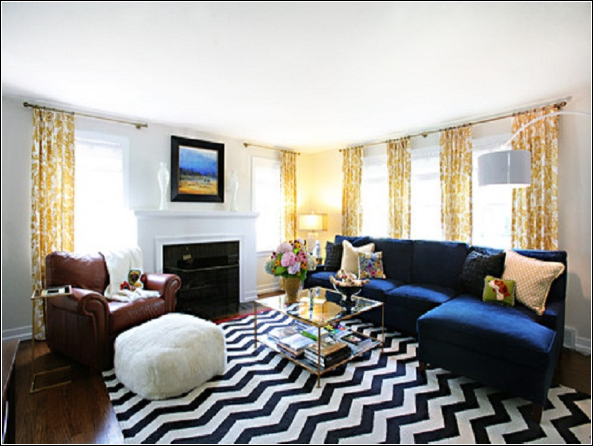 Navy Blue And Yellow Kitchen Curtains