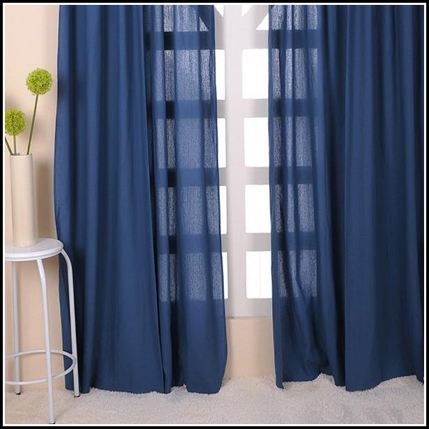 Navy Blue Grommet Curtain Panels