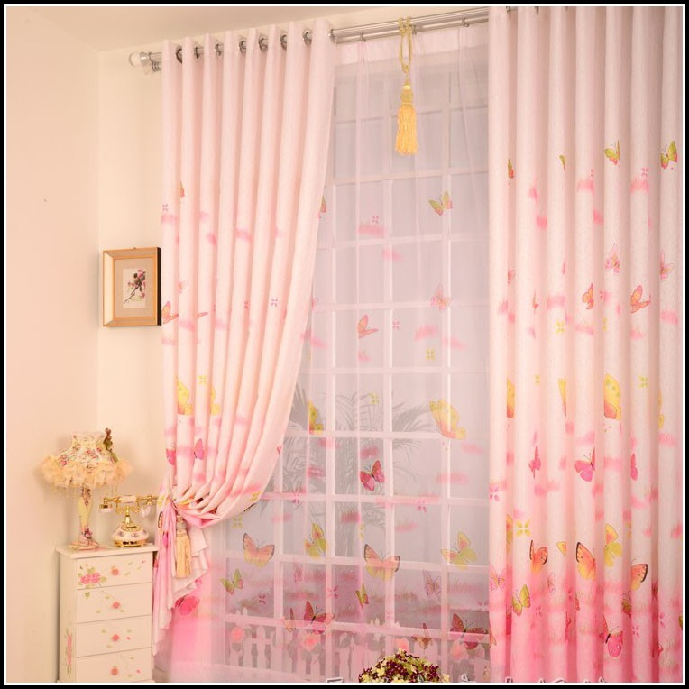 Pink And Purple Flower Curtains
