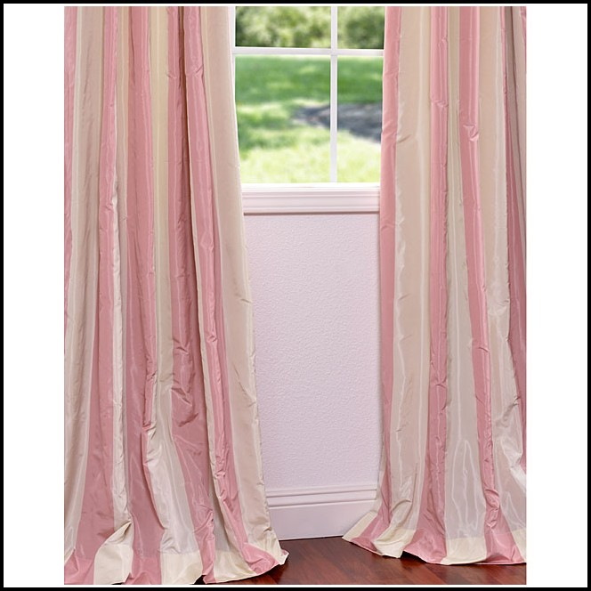 Pink And White Striped Silk Curtains