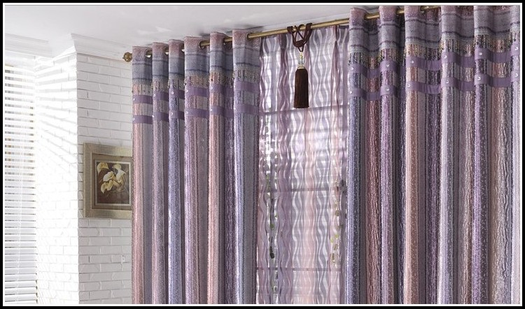 Purple And Silver Eyelet Curtains