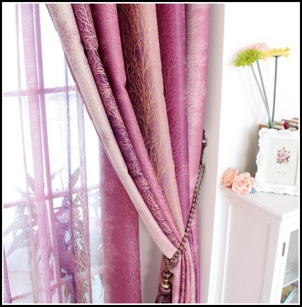 Purple And White Bedroom Curtains