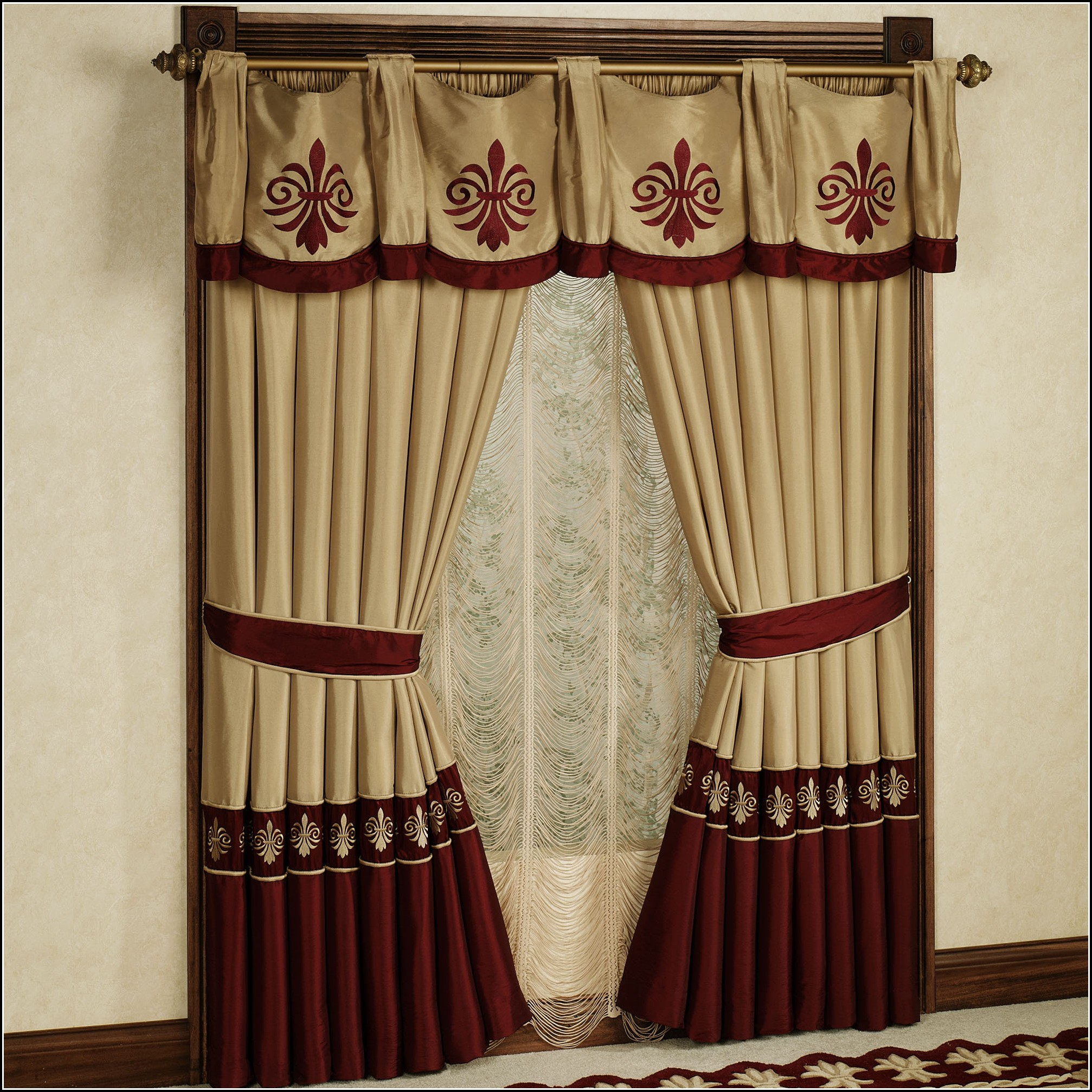 Red And Gold Kitchen Curtains