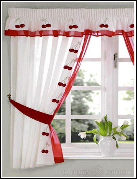 Red And White Curtains Striped