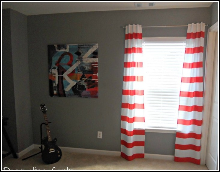 Red And White Horizontal Striped Curtains