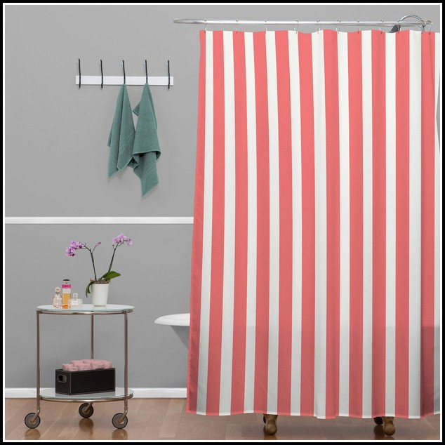 Red And White Striped Shower Curtains