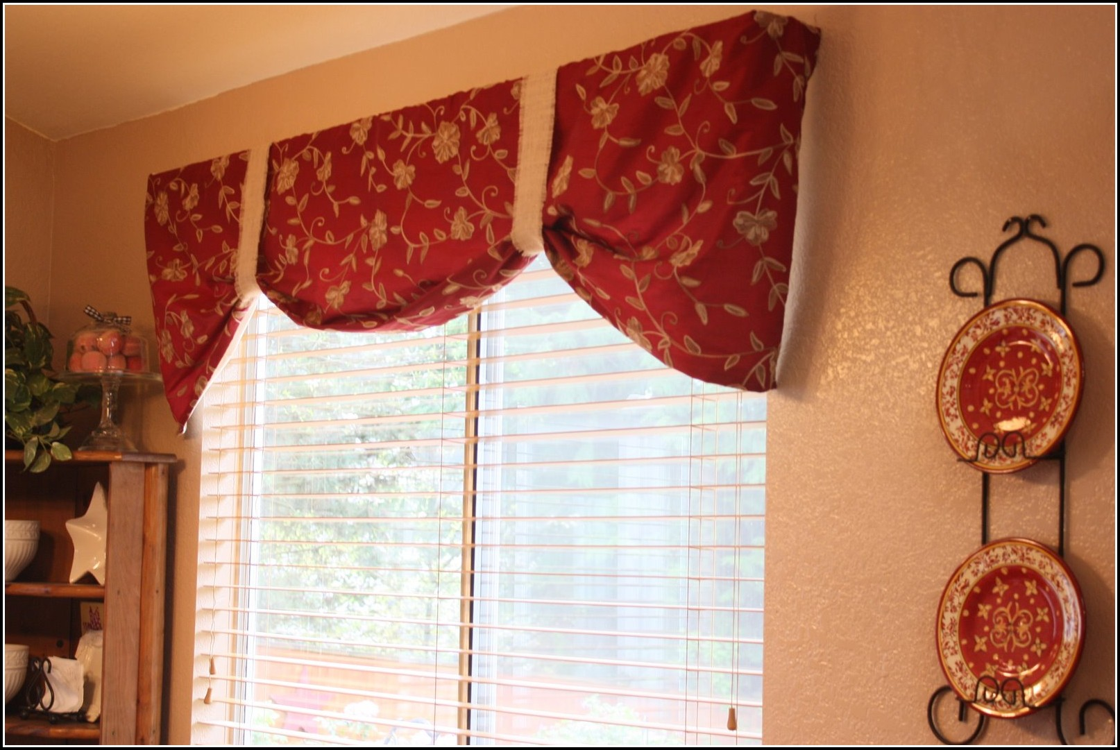 Red Valance Curtains For Kitchen