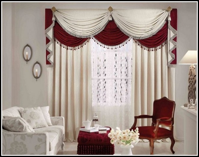 Red White Curtains Living Room