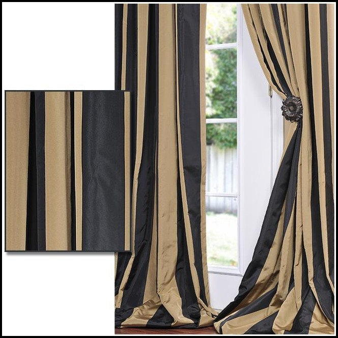 Tan And Black Striped Curtains