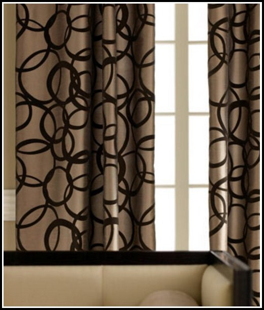 Tan And Black Window Curtains