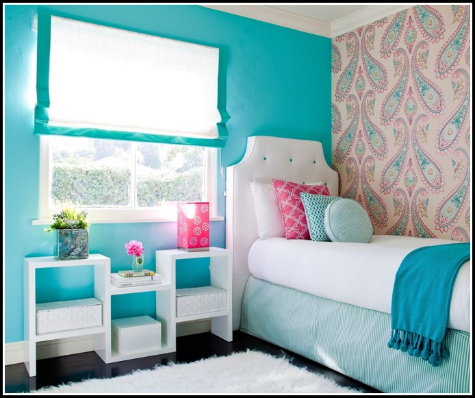 Teal And White Curtain Panels