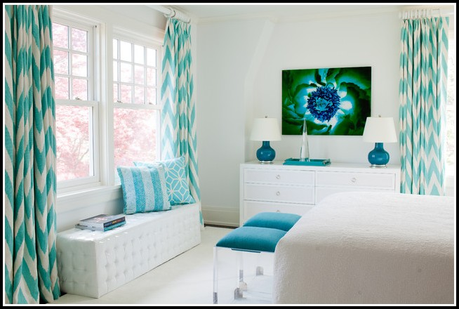 Teal And White Shower Curtains