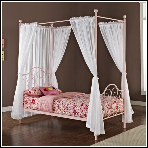 Twin Metal Canopy Bed Pewter With Curtains