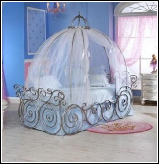 Twin Metal Canopy Bed White With Curtains