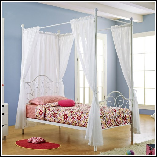 Twin Metal Canopy Bed With Curtains