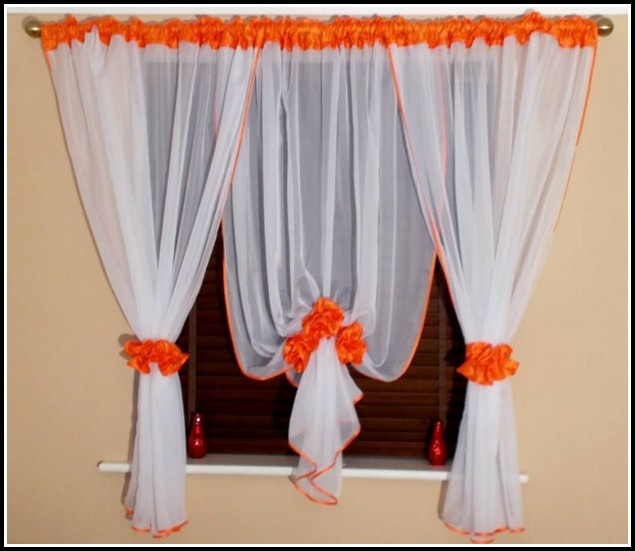 White And Burnt Orange Curtains