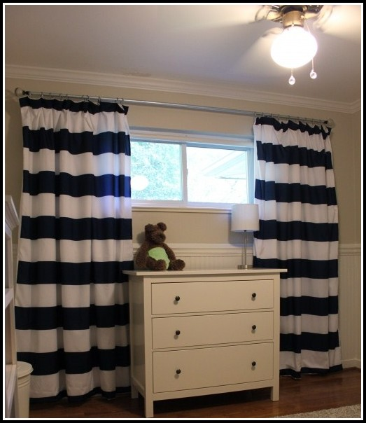 White And Navy Color Block Curtains