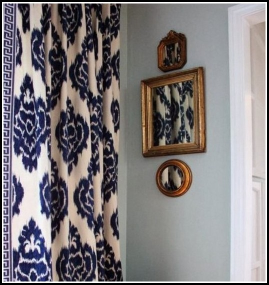 White And Navy Shower Curtains