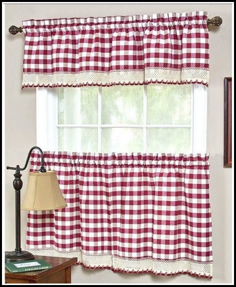 White And Red Bedroom Curtains