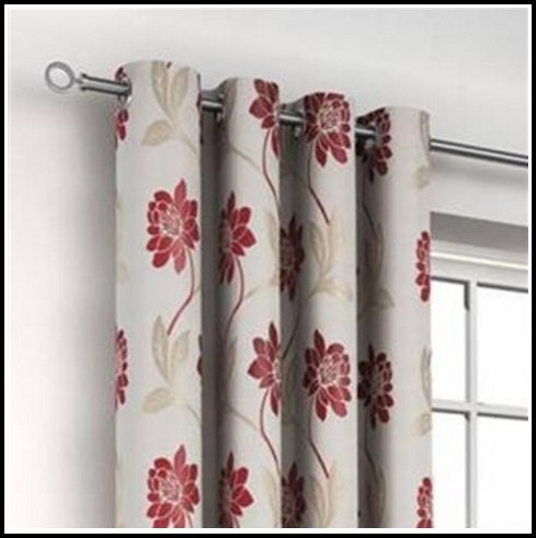 White And Red Eyelet Curtains