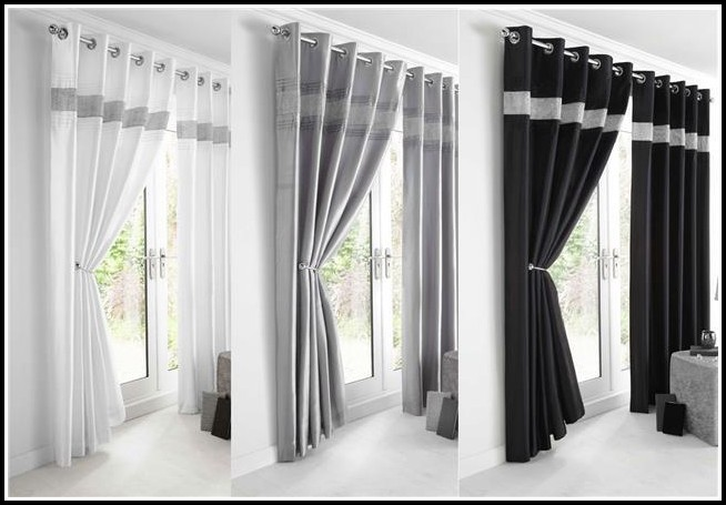 White And Silver Voile Curtains