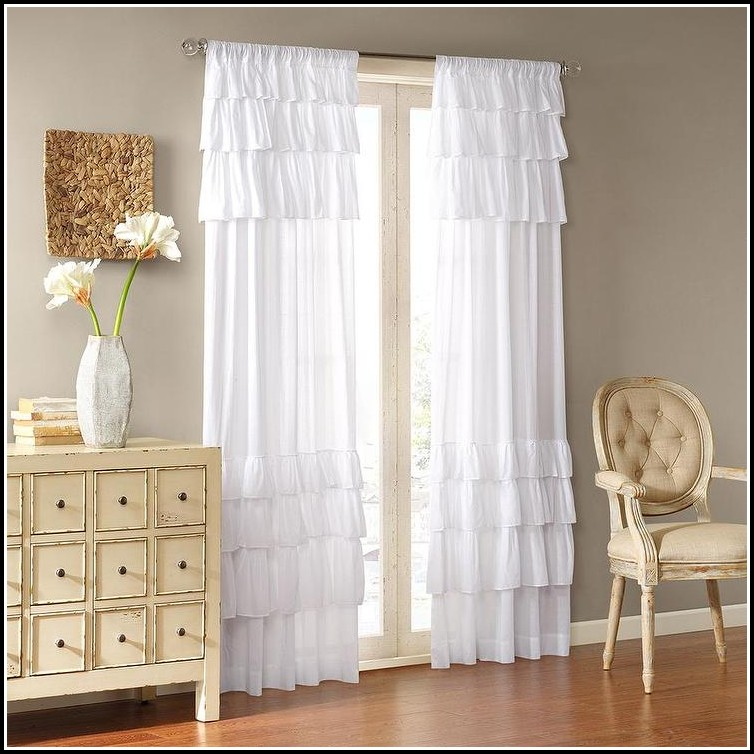 White Cotton Tab Top Curtain Panels