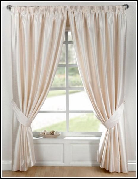 White Faux Silk Grommet Curtains