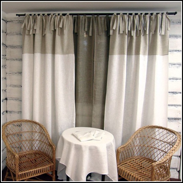 White Tie Top Curtain Panels
