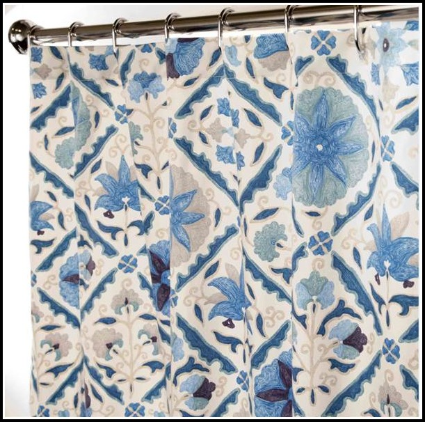 Beige And Blue Shower Curtains