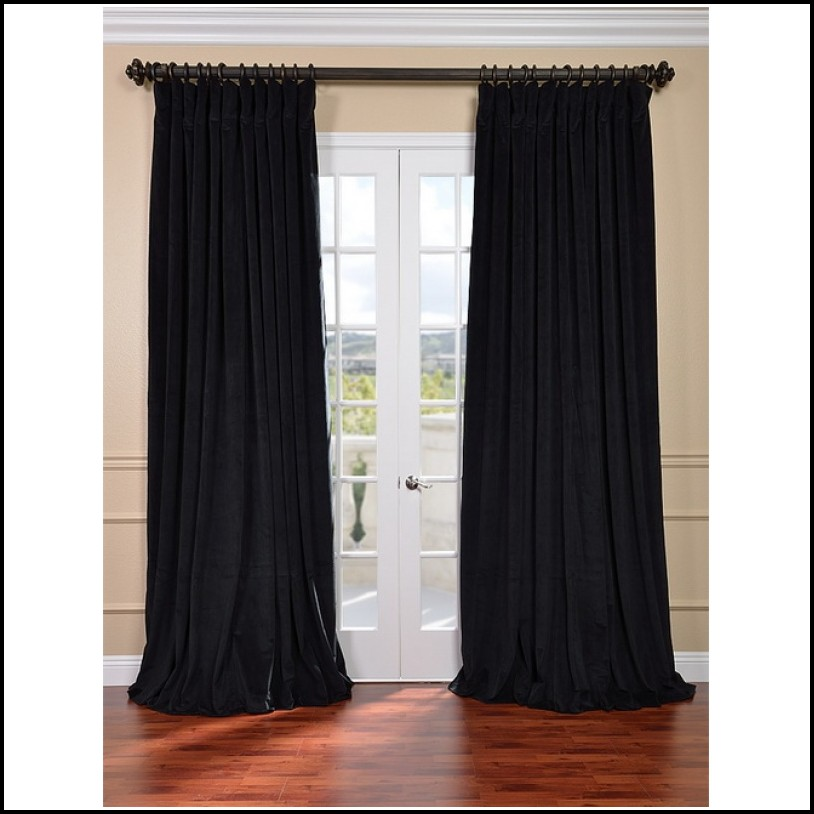 Black Velvet Curtains Drapes Panels Curtain Length