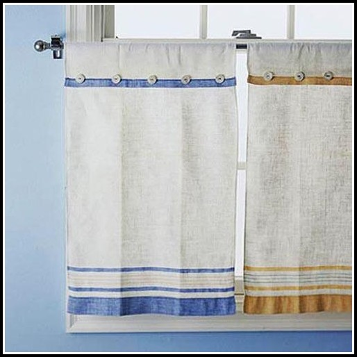 Blue And Yellow Toile Kitchen Curtains