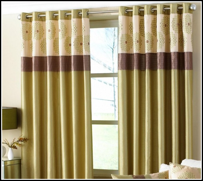 Brown Gold And Green Curtains