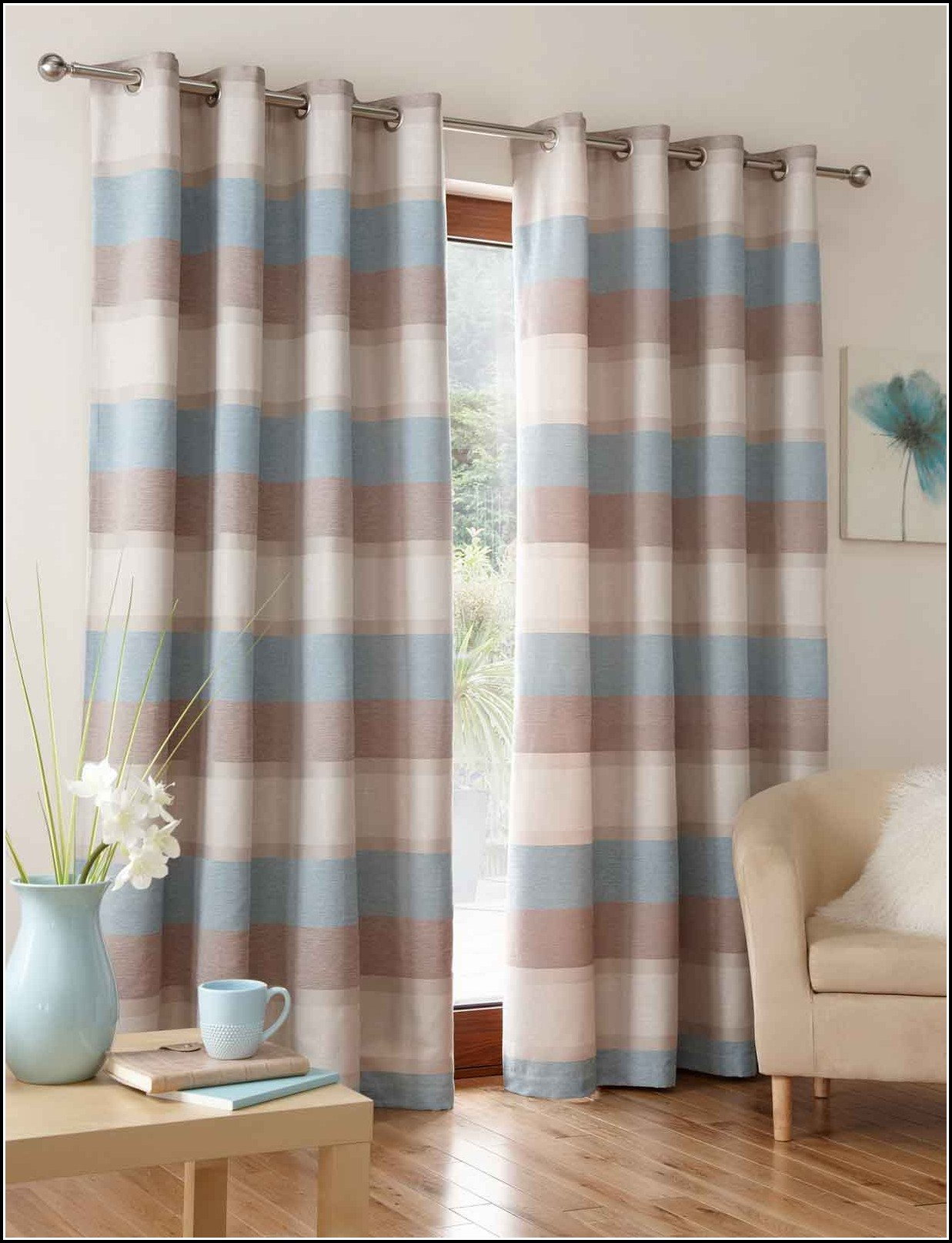 Curtains Duck Egg Blue And Brown