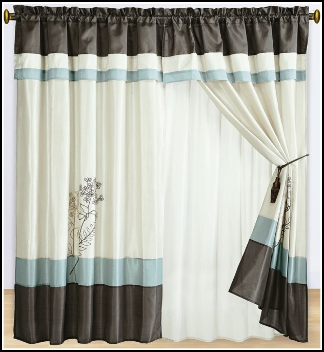 Duck Egg Blue And Brown Striped Curtains