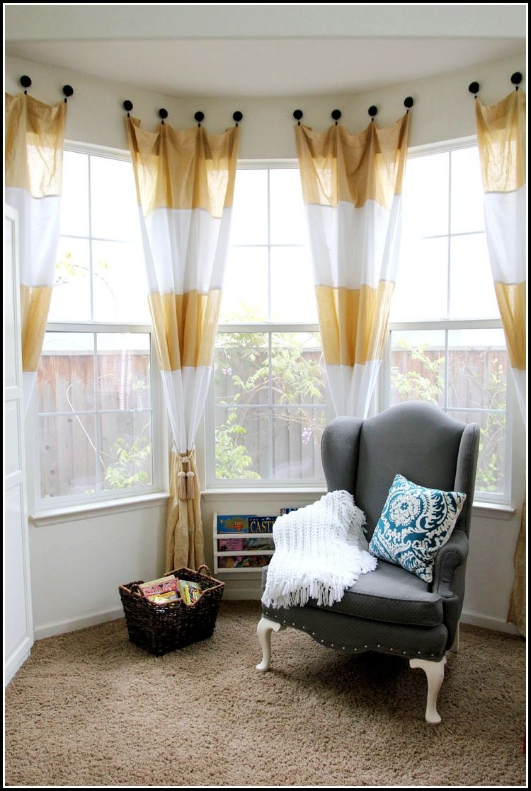 Eyelet Curtains On A Bay Window