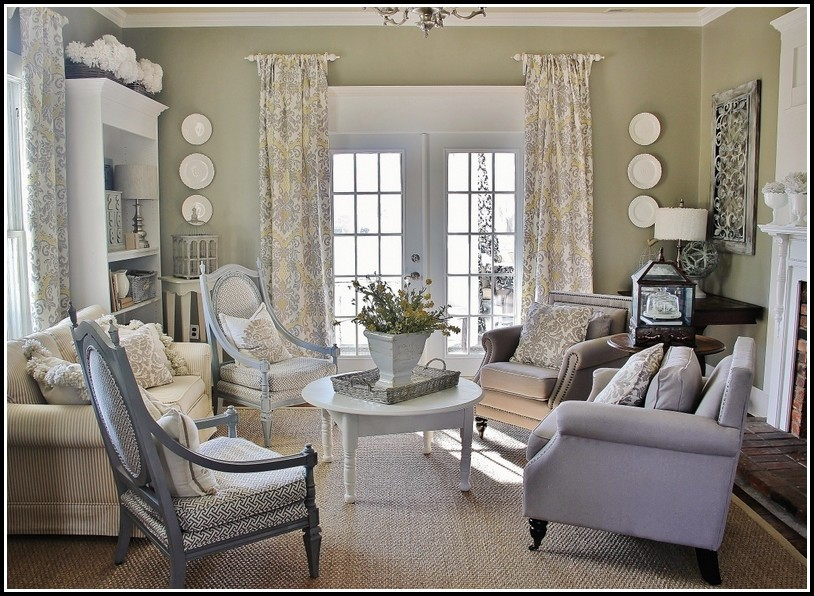 Gray And White Living Room Curtains