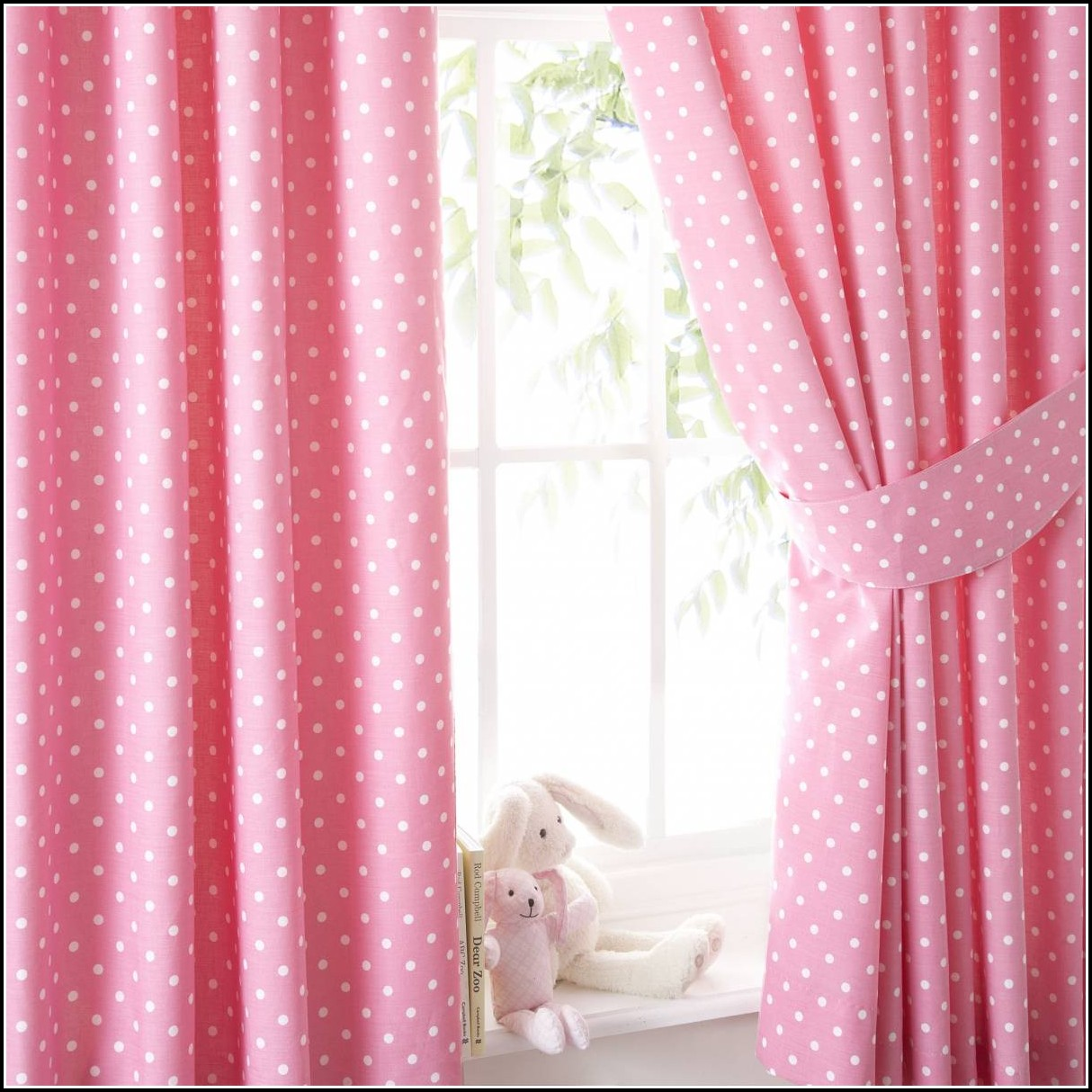 Pink And White Polka Dot Window Curtains