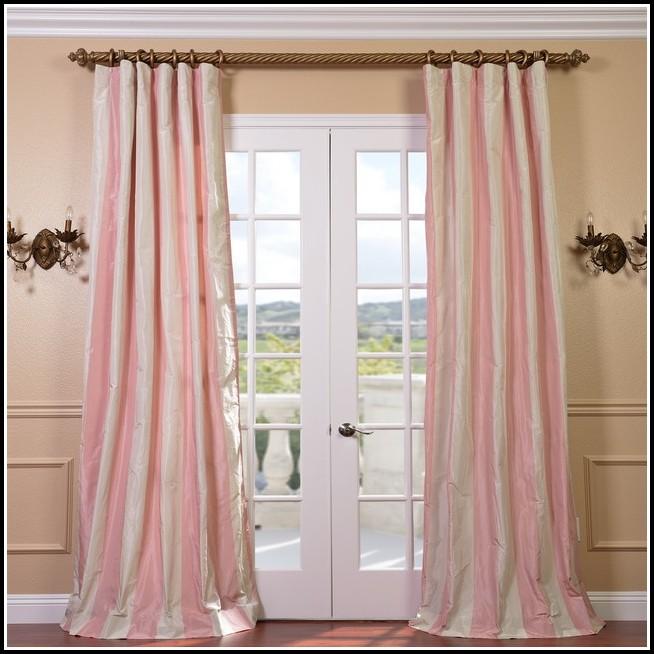 Pink Faux Silk Curtain Panels